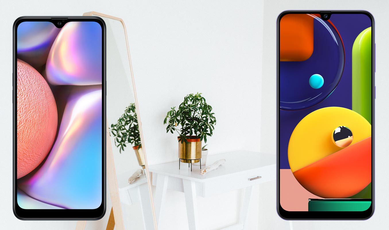 Samsung A10s and A50s with Mirror Plant Background