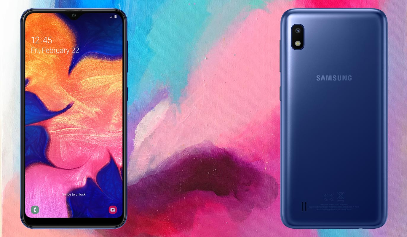 Samsung Galaxy A10 with Painting Background
