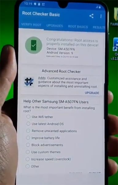 Samsung Galaxy A50s Root Checker Result