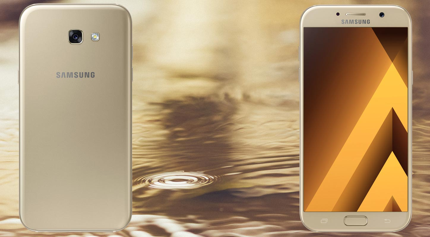 Samsung Galaxy A7 2017 with Gold Color Background