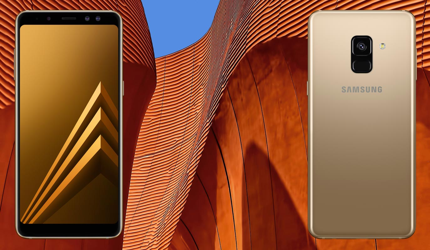 Samsung Galaxy A8 2018 with Architecture Background