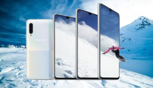 Samsung Galaxy A90 5G with Snow Mountain Background