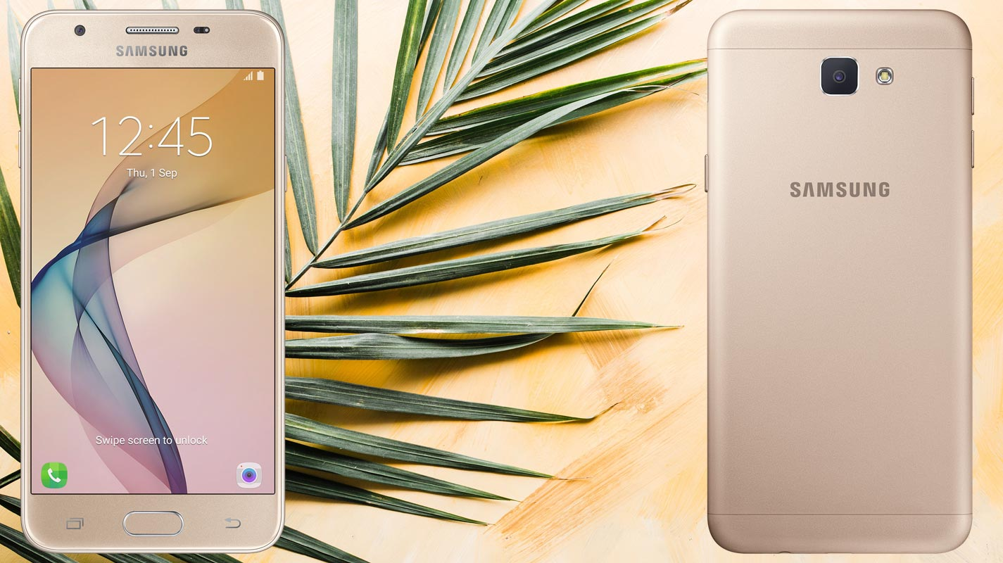 Samsung Galaxy J5 Prime with Coconut Tree Leaf Background