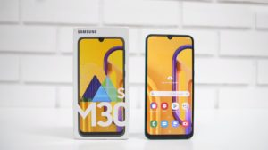 Samsung Galaxy M30s with White Tile Wall Background