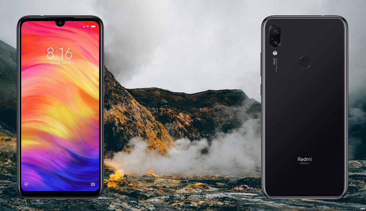 Xiaomi Redmi Note 7 Pro with Lava Smoke Background