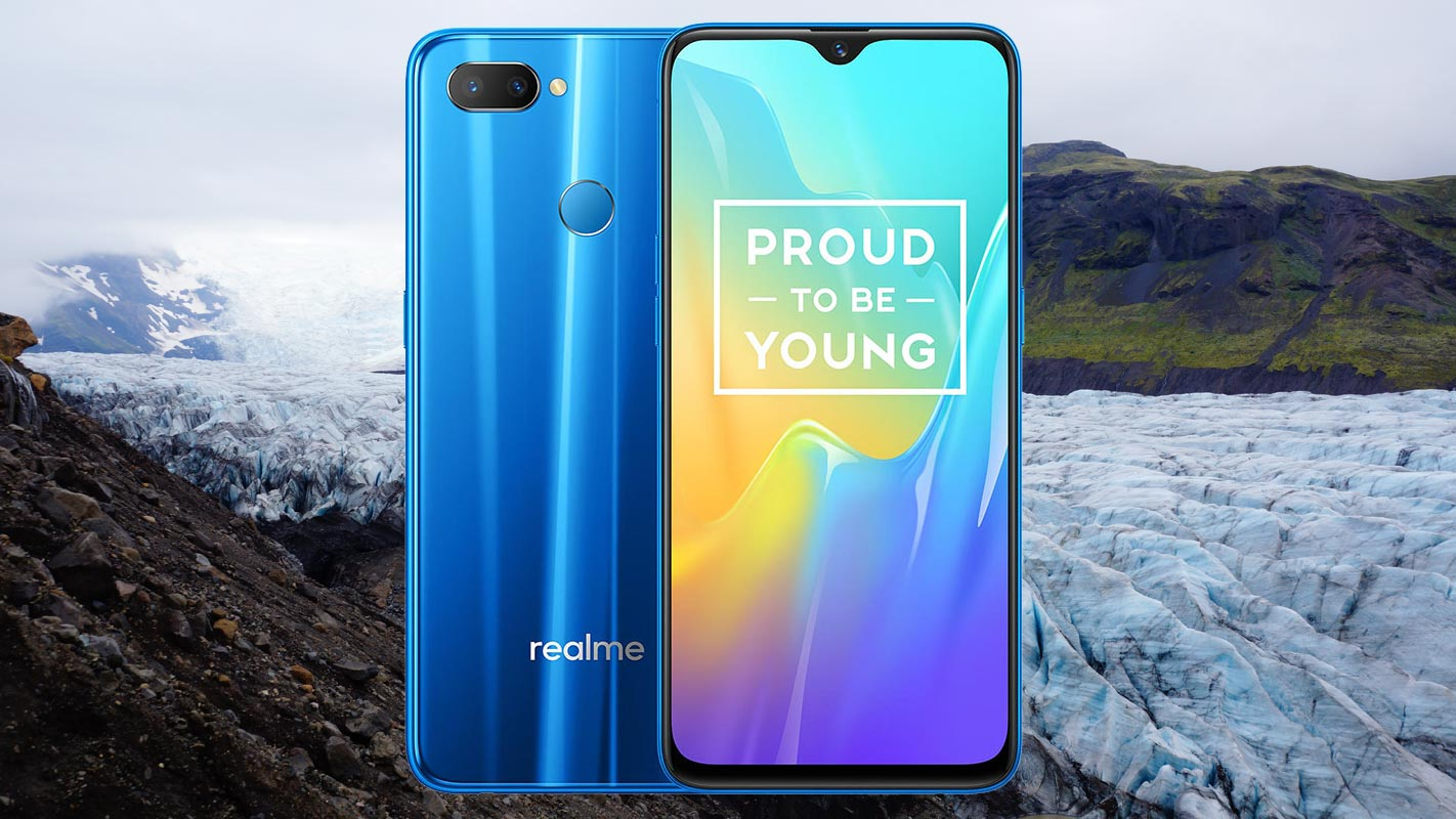 realme U1 with glacier mountain background