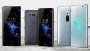 Sony Xperia XZ2 premium and compact with Sea Wave Background