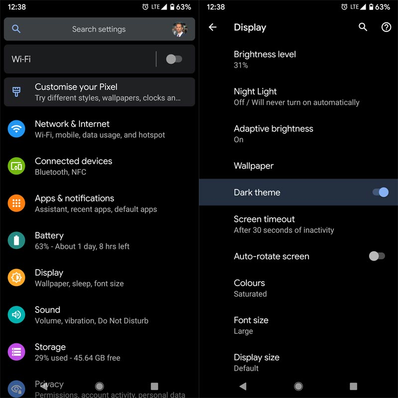 Android 10 Dark Theme