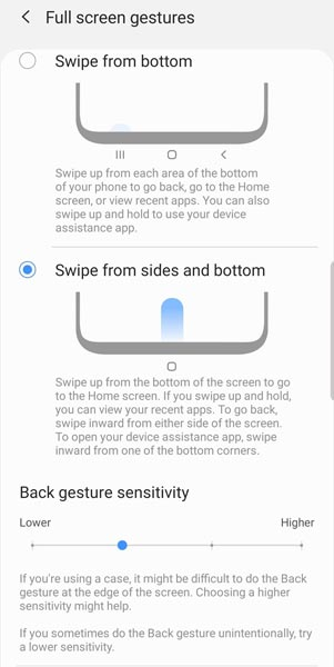 Full Screen Gestures Samsung One UI 2.0