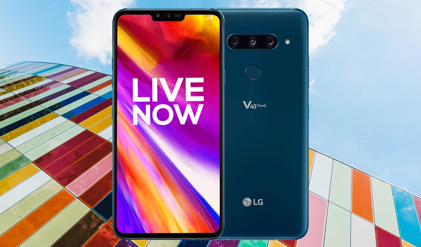 LG V40 ThinQ with Colorful Building Background