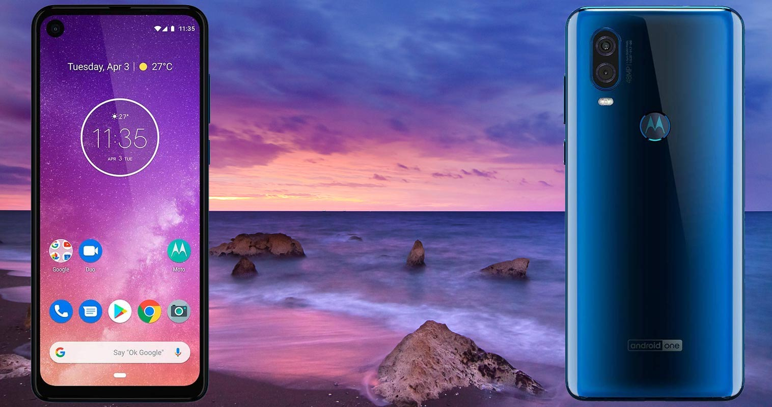 Motorola One Vision with Night Beach Background