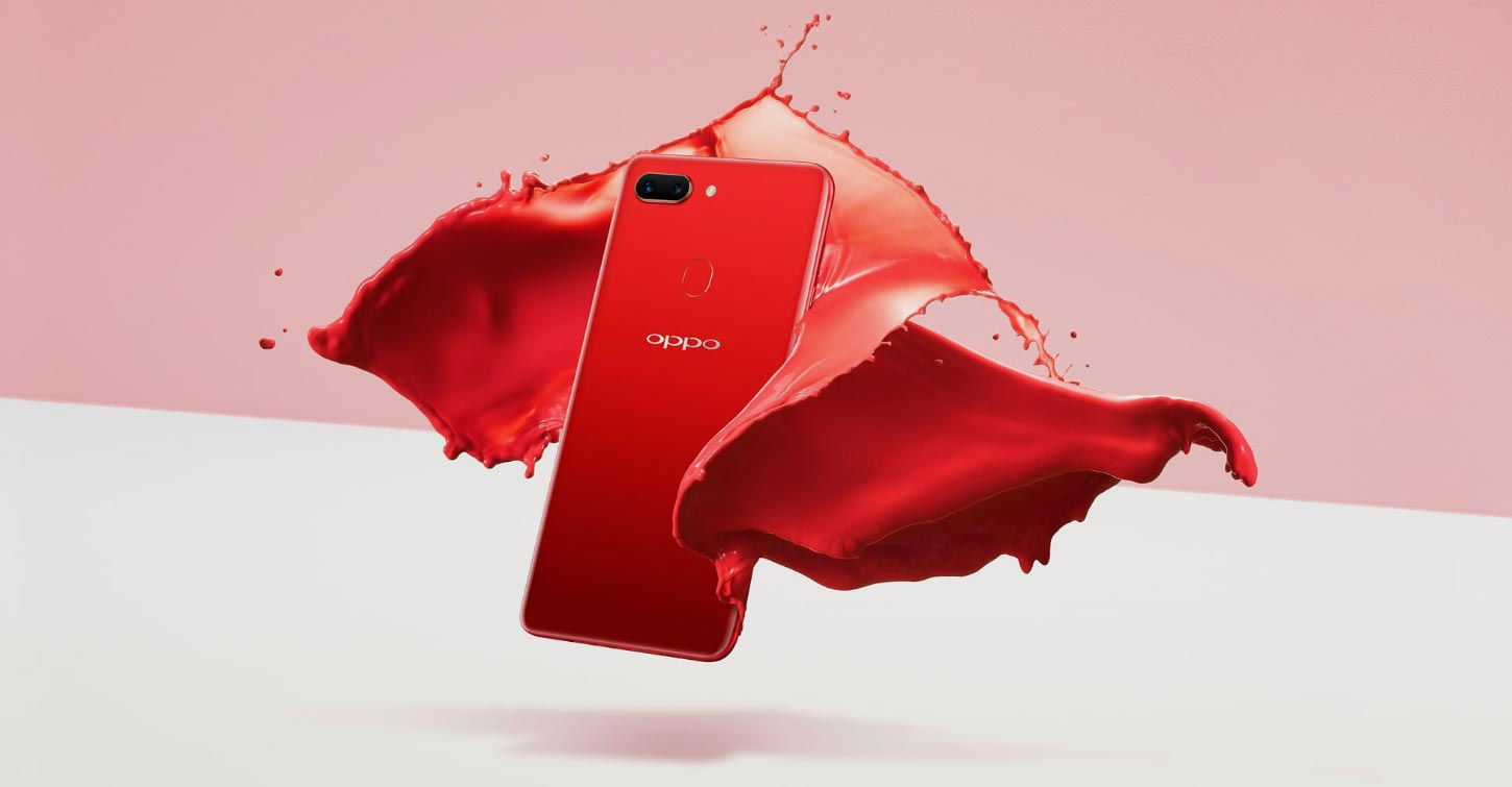 Oppo R15 Pro with Red and Pink Background