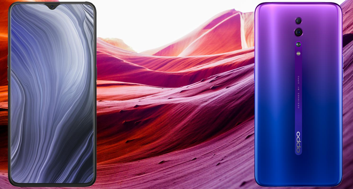 Oppo Reno Z with Violet Based Sand Mountain Background