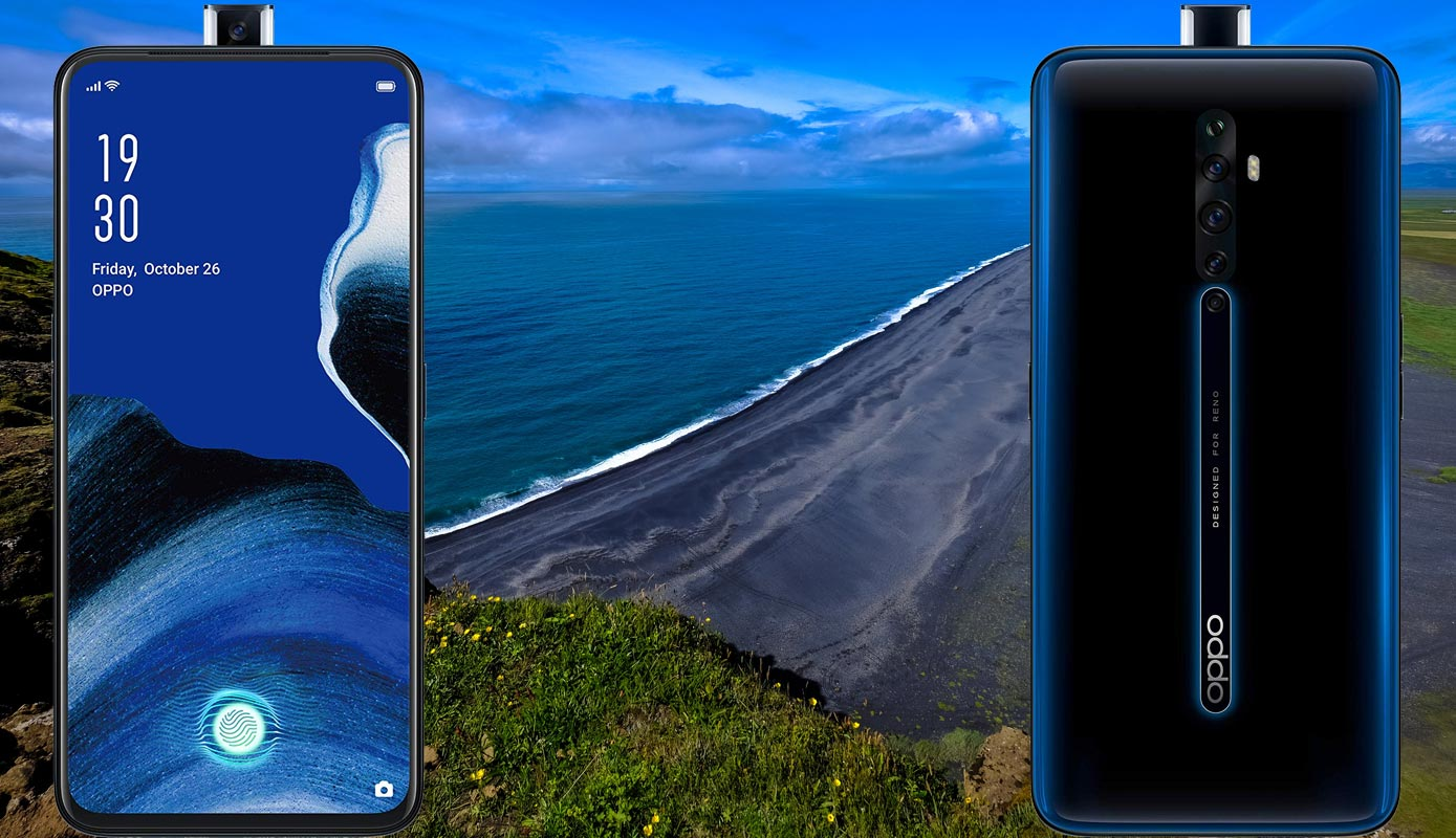 Oppo Reno2 Z with Black Sand Beach Background