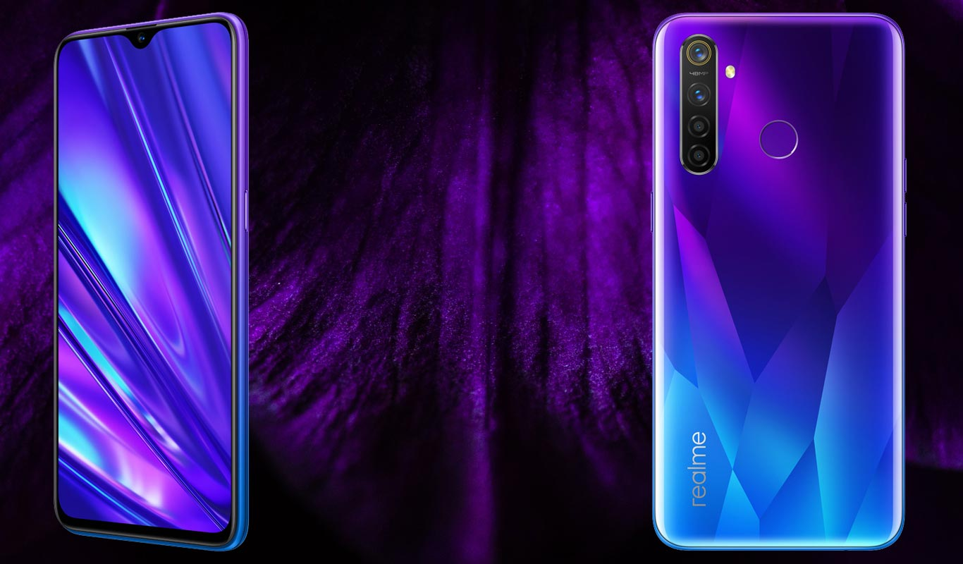 Realme 5 Pro with Violet Flower Background