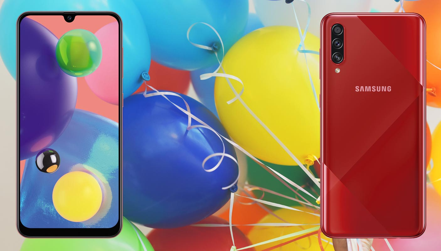 Samsung Galaxy A70s with Balloons Background