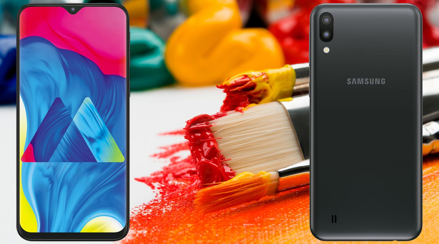 Samsung Galaxy M10 with Art Paint Background