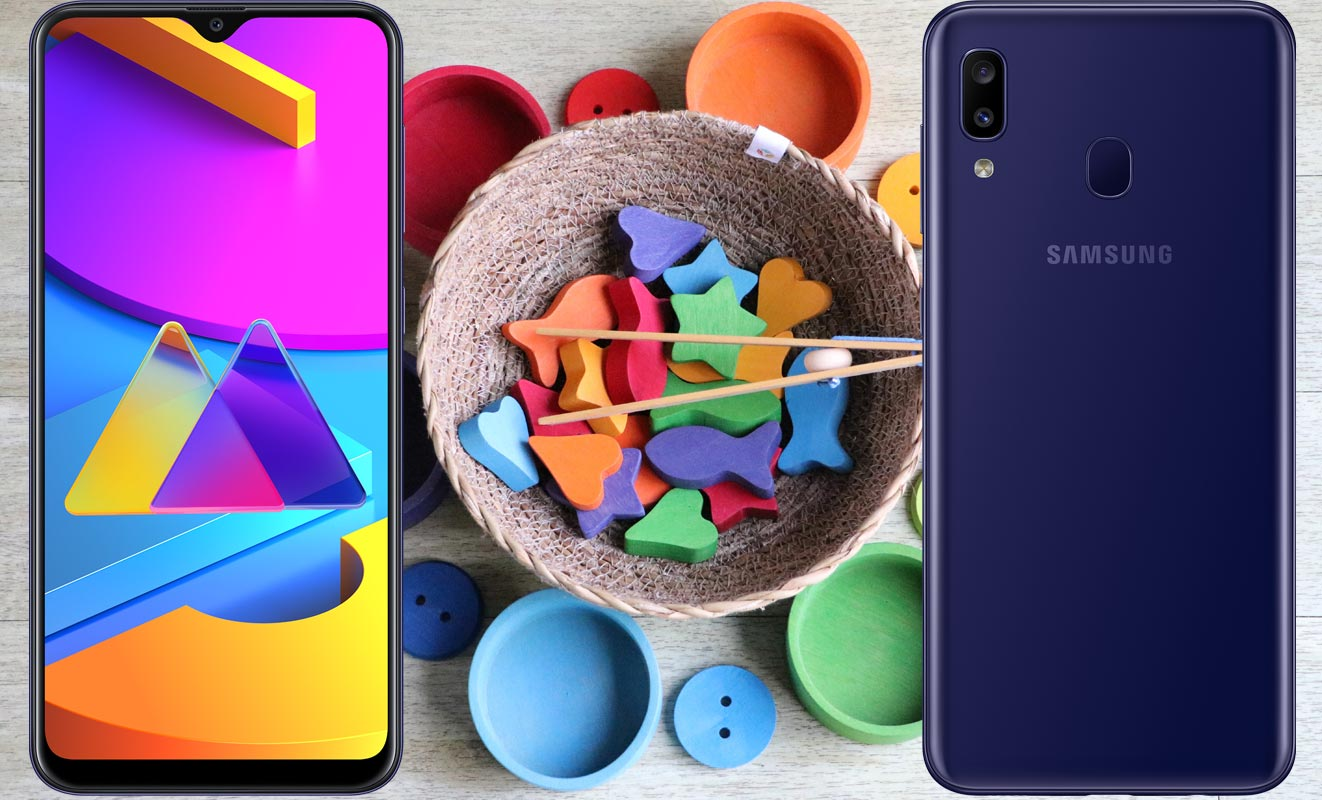 Samsung Galaxy M10s with Rubber Shapes in Food Bowl
