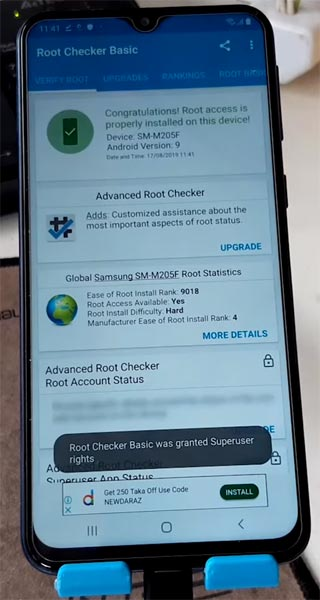 Samsung Galaxy M20 Pie Root Checker Result
