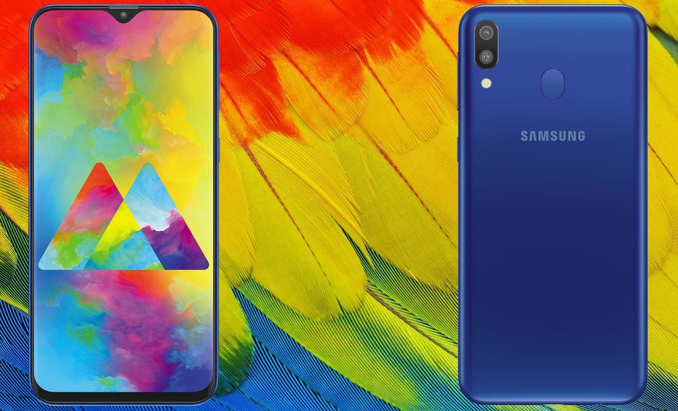 Samsung Galaxy M20 with Colorful Feather Background