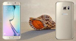 Samsung S6 Edge With Sea Conch Background
