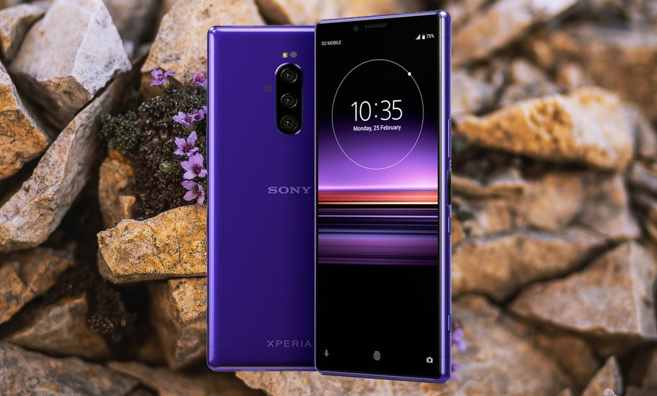 Sony Xperia 1 with Mountain Brick Background