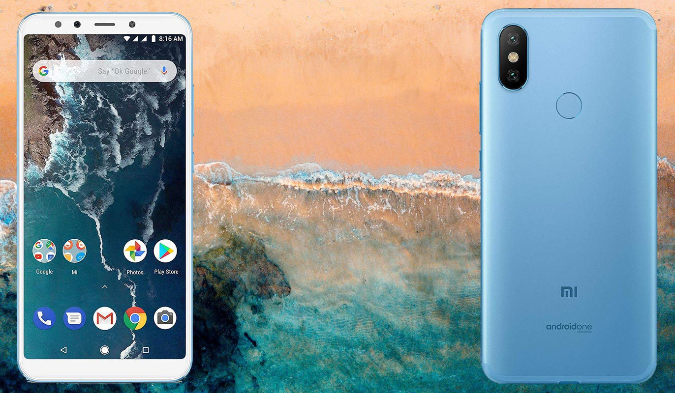 Xiaomi Mi A2 with Ocean Beach Background