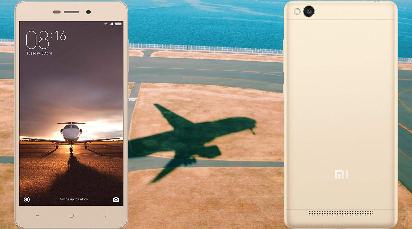 Xiaomi Redmi 3s with Plane Landing Track Background