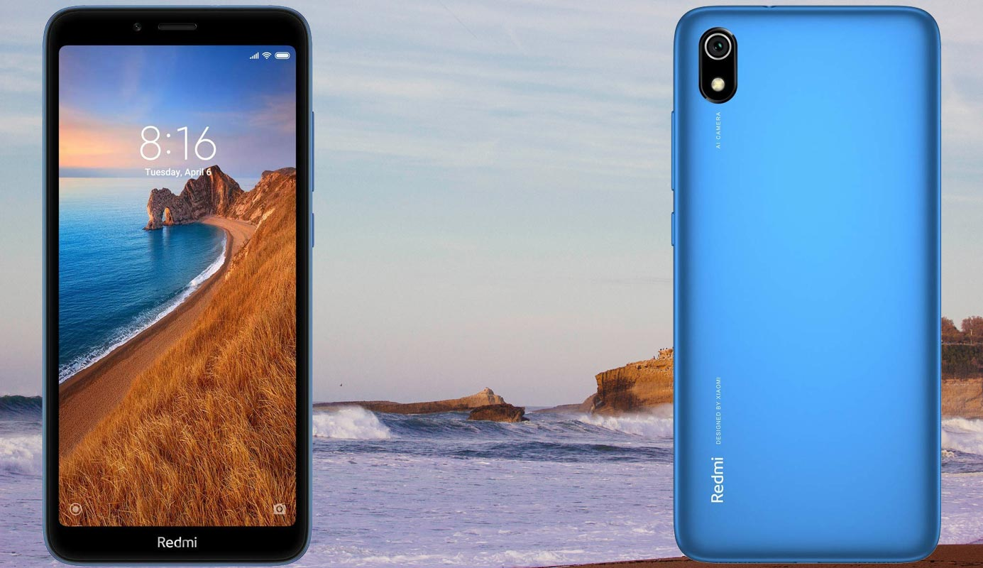 Xiaomi Redmi 7A with Beach Background