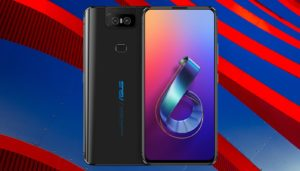 Asus Zenfone 6 with Red and Blue Metal Background