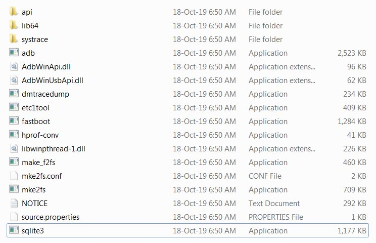Extracted Files Android SDK Tools