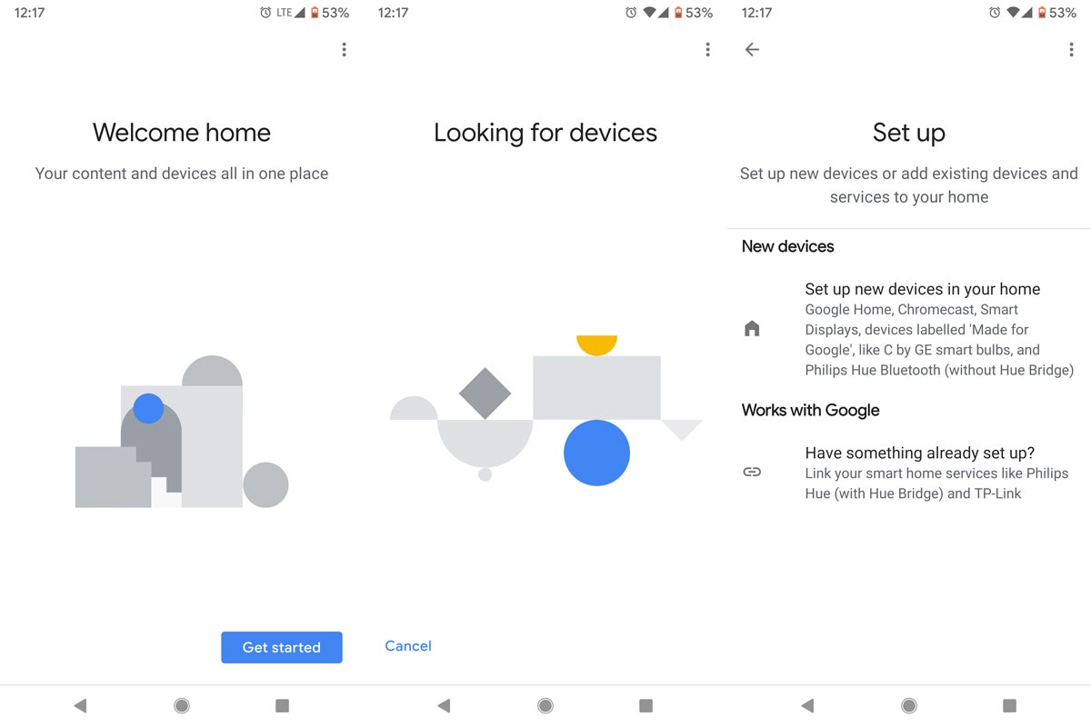 Google Home Setup Screenshots