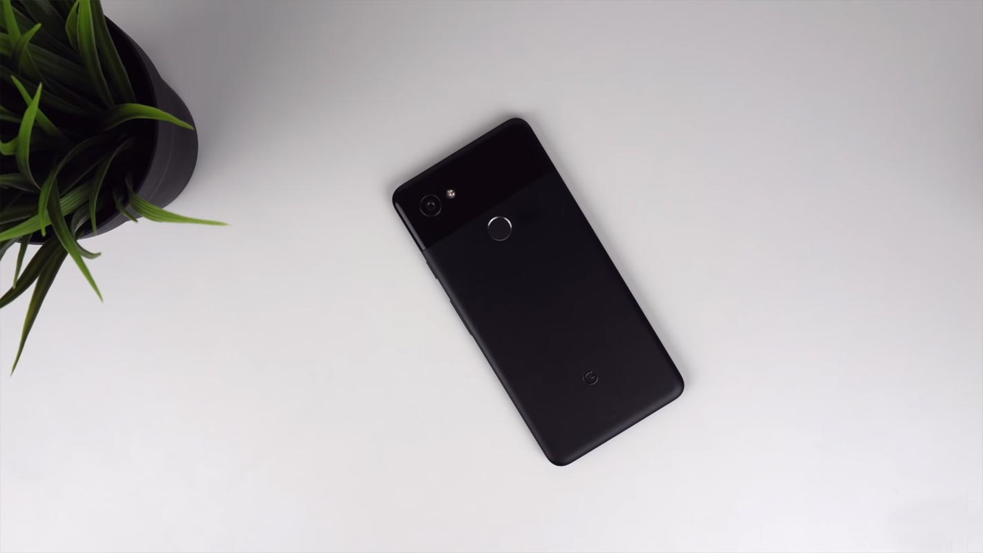 Google Pixel 2 XL Backside on the White Wooden Table With Small Plant