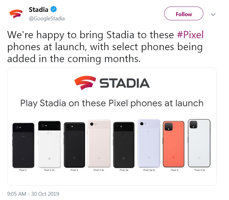 Google Stadia Supporting Phones List