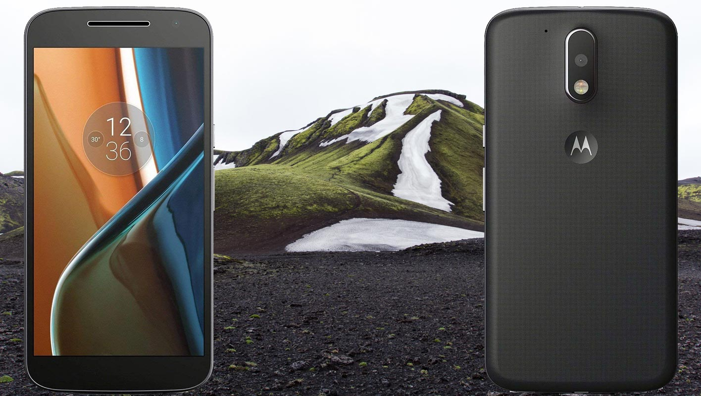 Moto G4 with Snow Mountain and Black Sand Background