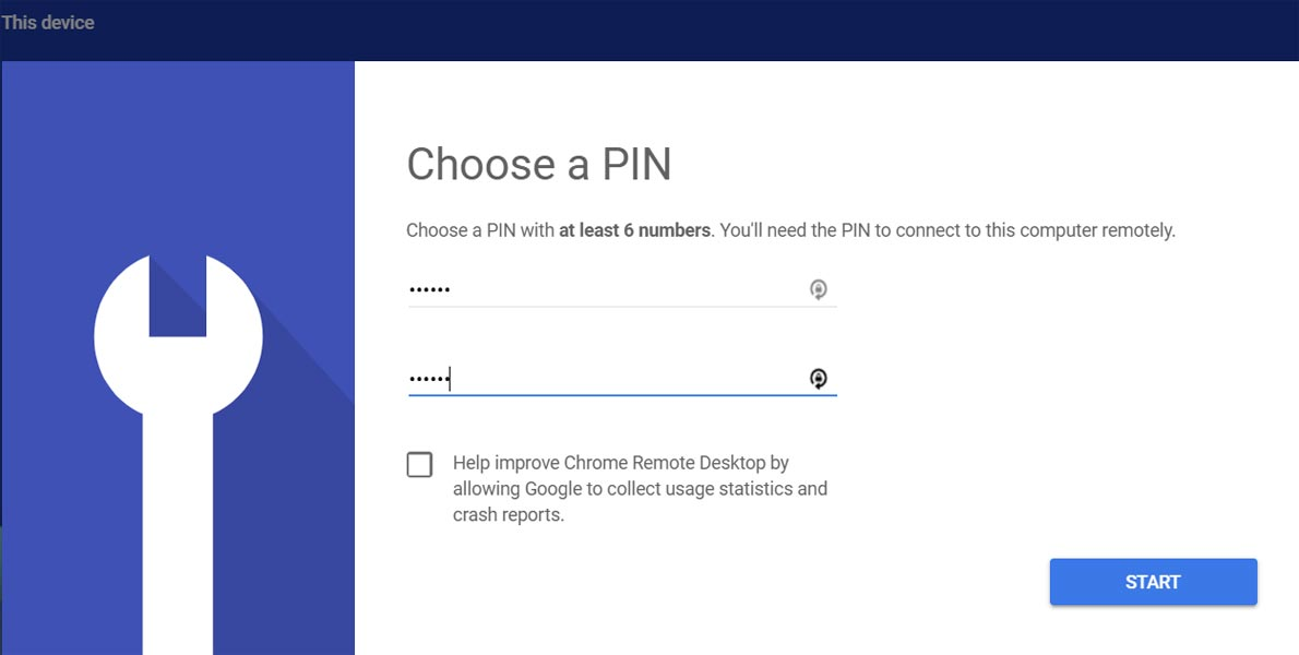 PIN Setup remote desktop Google