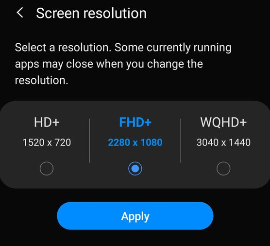 Samsung Display Resolution Option