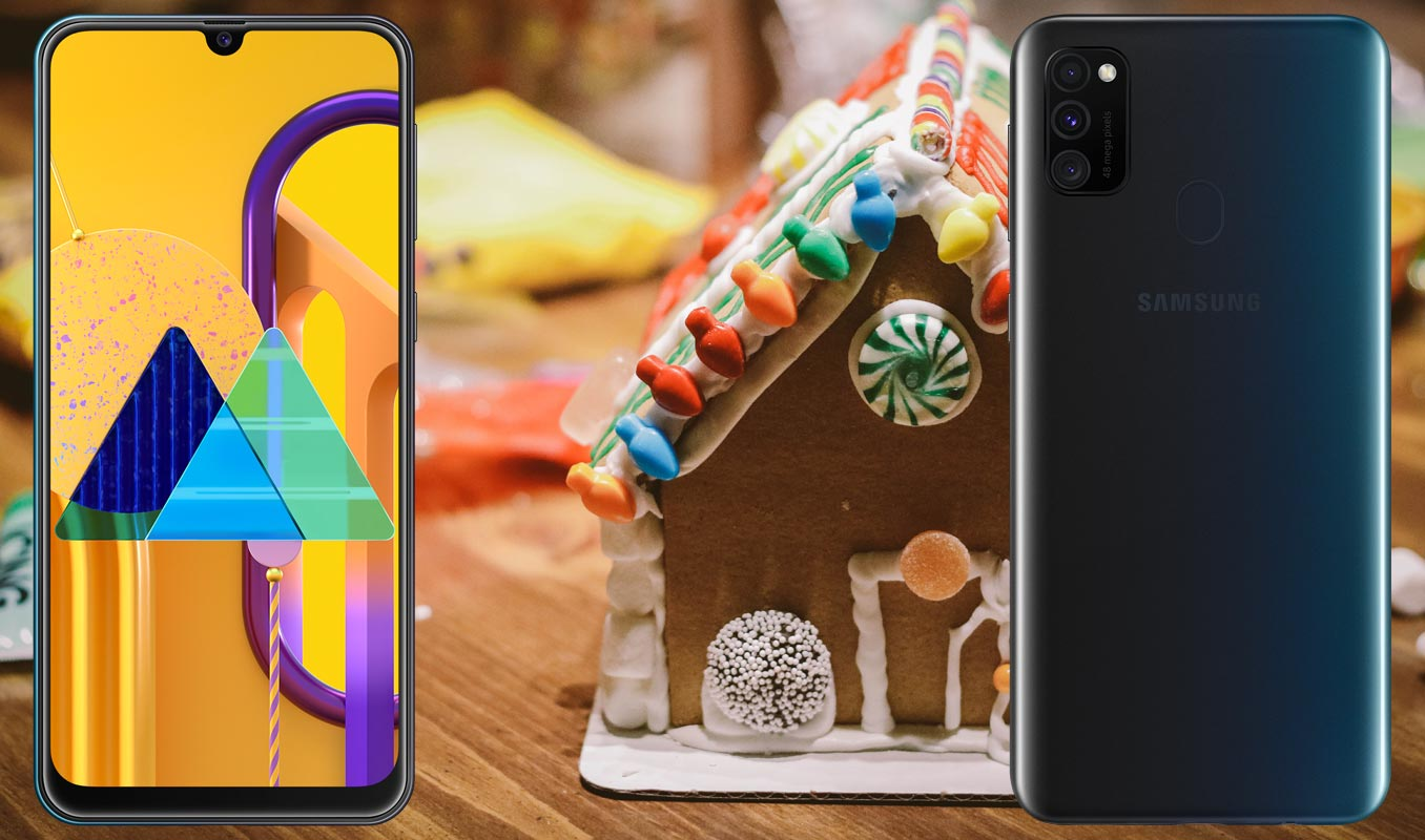 Samsung Galaxy M30s with House Like Cake Background