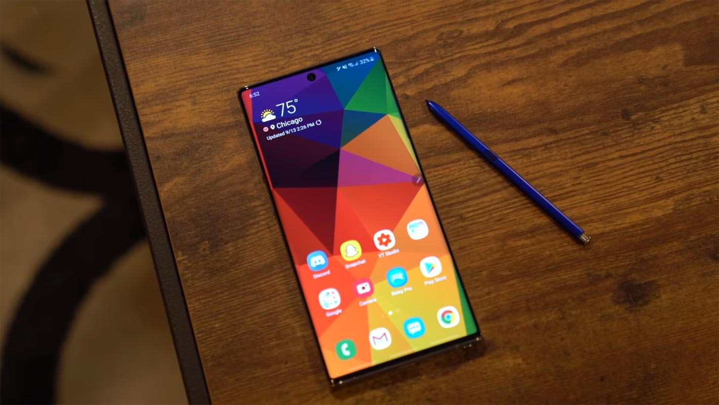 Samsung Galaxy Note 10 on the Brown Wooden Table