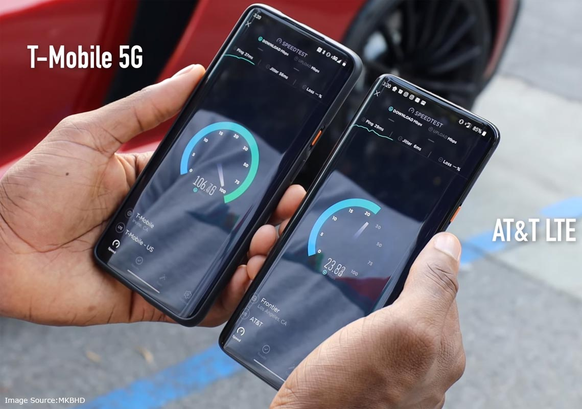 ATT and T-Mobile 5G Speed Test Compare
