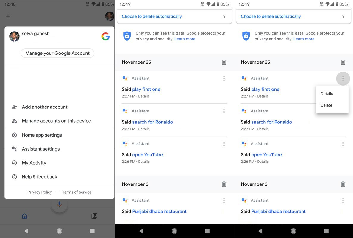 Delete Google Assistant Data Manually From Google Home App