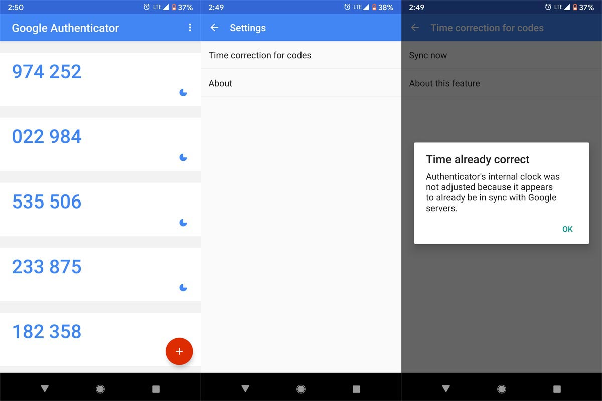 Google Authenticator App Screenshots