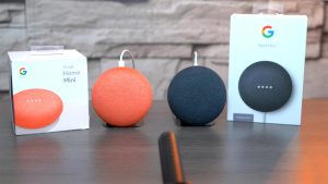 Google Home Mini and Nest Mini on the Table
