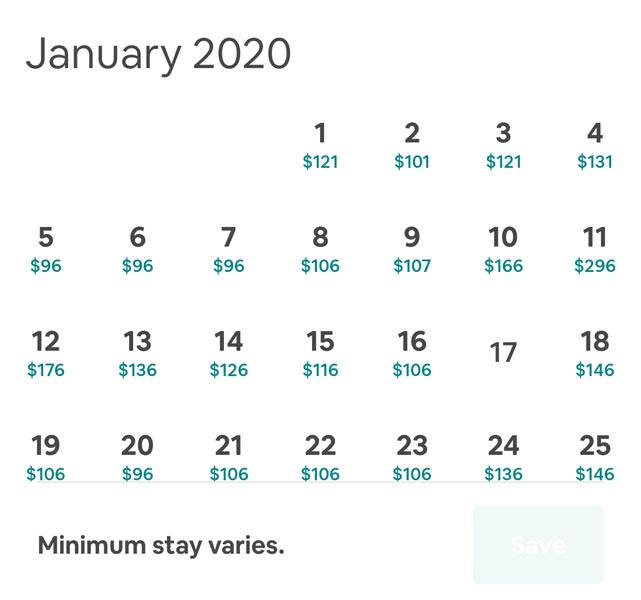 Hotel Price stay based on the Calendar