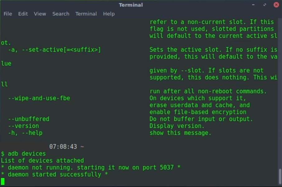 Linux adb devices command