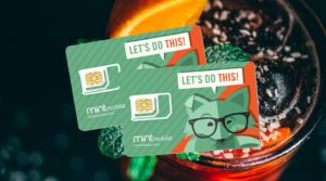 Mint Mobile SIM Card with Mint Drink Background