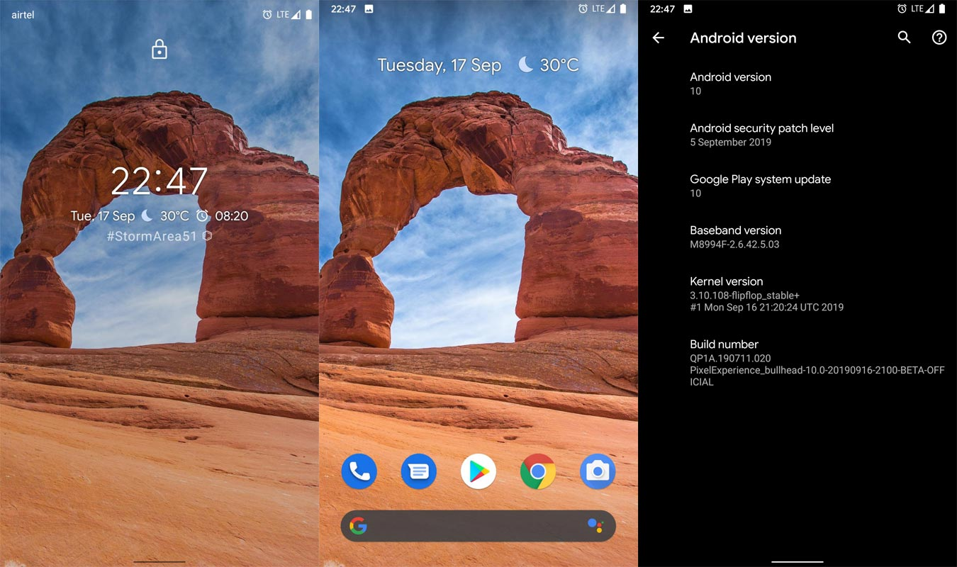 Screenshots of Pixel Experience ROM Android 10