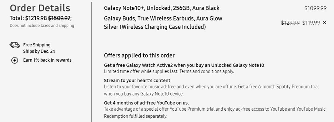 Note 10 Plus With Ear Buds Price