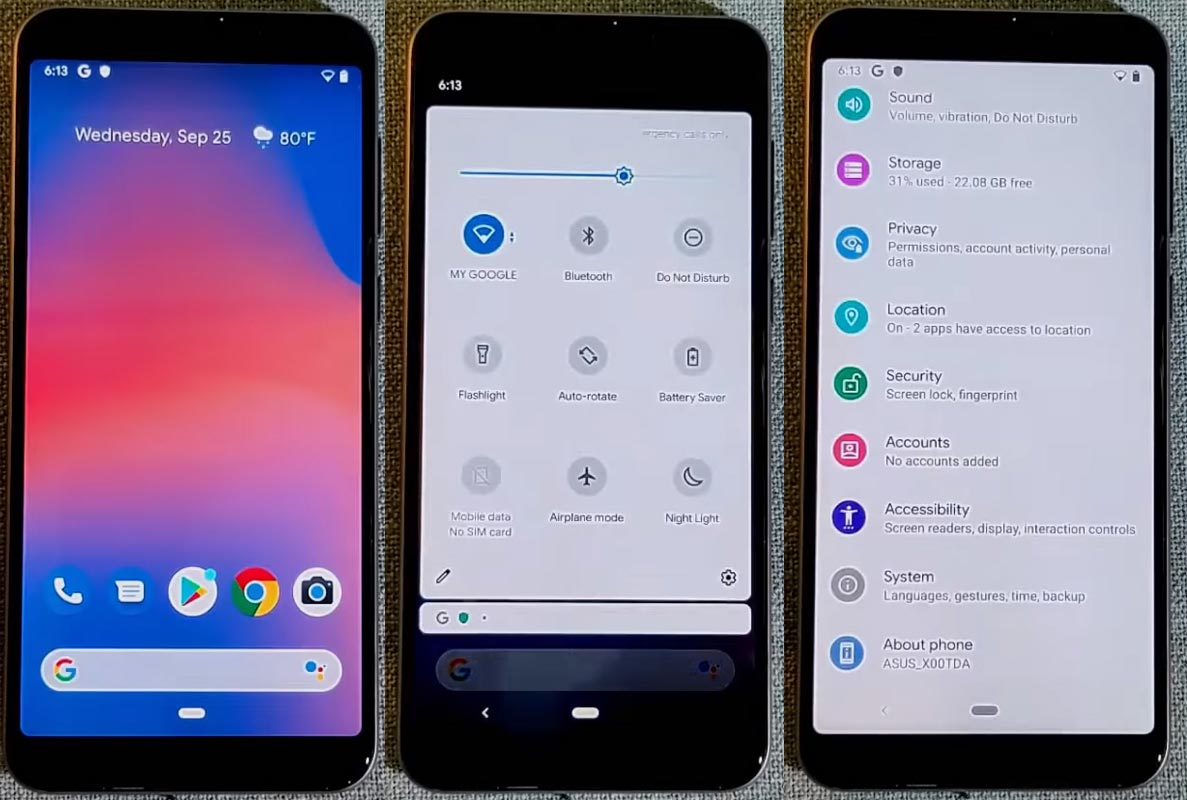 Pixel Experience Android 10 Screenshots of Asus Zenfone Max Pro M1