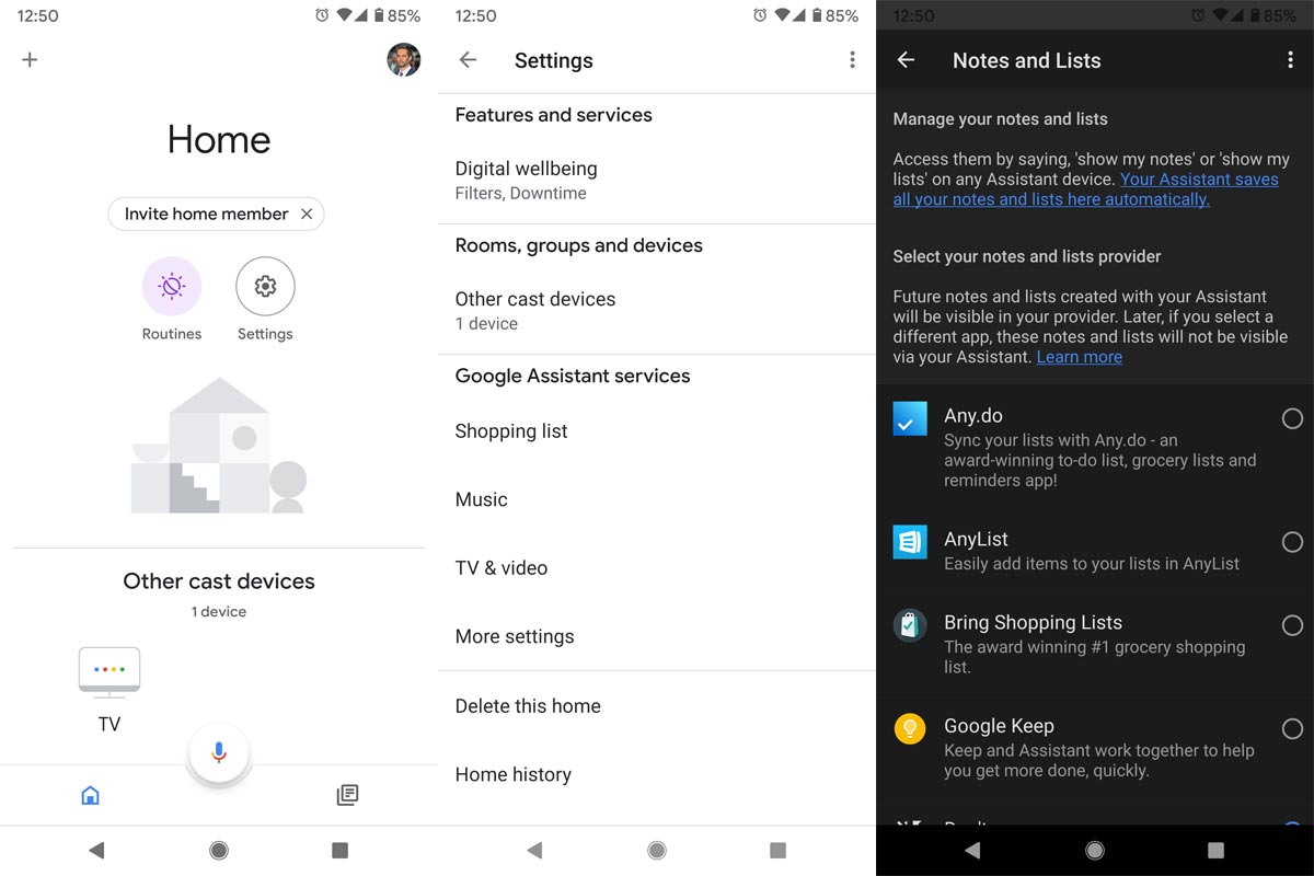 Remove Services from Google Home App